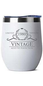 1980 40th Birthday Gifts for Women Men - 12 oz White Insulated Stainless Steel Tumbler w/Lid