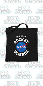 NASA Approved Space Program Logo Retro Graphic Large Canvas Tote Bag Women