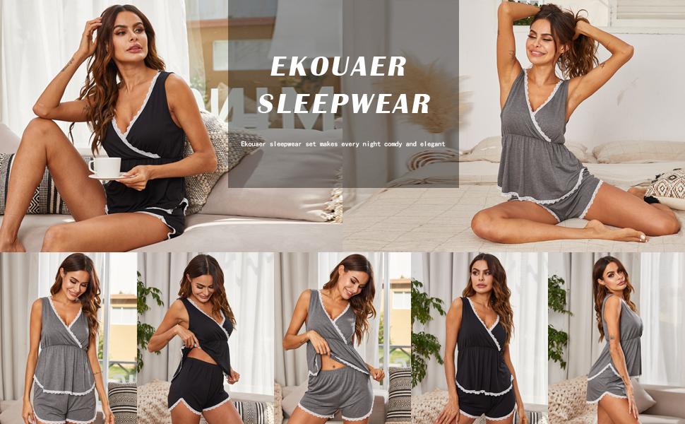 Womens Sleeveless Short Pajamas Sets Racerback Tank and Shorts Cute Sleepwear Sweetness PJs Set