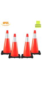 """4 Traffic Cones 28"""""""