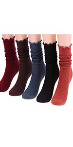 Ruffle Lightweight Socks Knit Cotton Socks Colorful Casual Socks W76