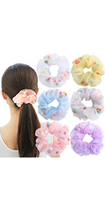 organza hair scrunchies bobbles hair band elastic hair ties women hair ponytail holder