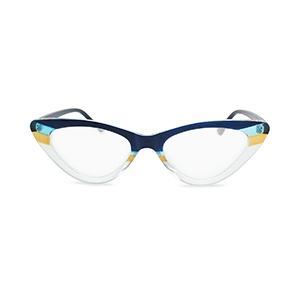 horn rimmed clear frame cat eye reading glasses color block plastic frame blue teal yellow crystal