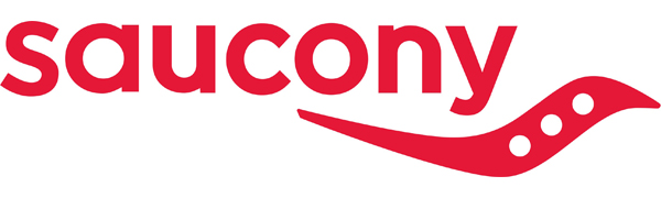 saucony logo in red with white background