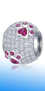925 Sterling Silver Sparkling Dog Paw Print Red CZ Charms fits Pandora Animal Bracelet