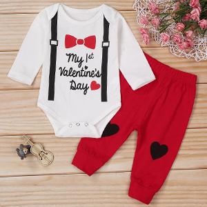 Newborn Baby Boys Girls My 1st Valentine's Day Outfit Romper Bodysuit + Pants 2PCs Gentleman Clothes
