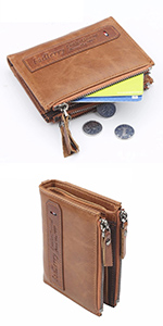 brown leather double zipper wallet