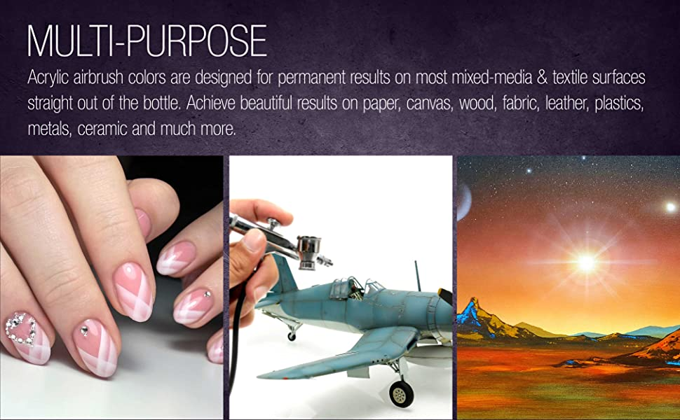 U.S. Art Supply Water Based Acrylic Airbrush Paint 8-Ounce
