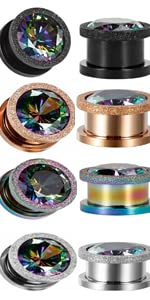 gemstone ear gauges tunnels and plugs