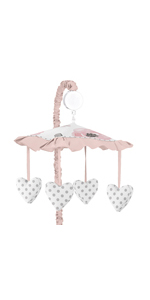 Blush Pink, Grey and White Musical Baby Crib Mobile for Watercolor Floral Collection