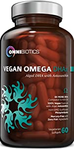 Vegan DHA Prenatal Omega 3 6 60 Capsules Supplement OmniBiotics