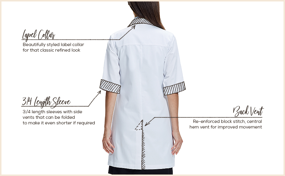 3/4 sleeve lab coat