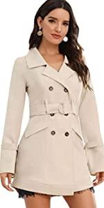 Elegant Belted Long Sleeve Trench Jacket