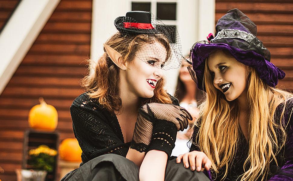 halloween cosplay party accessories vampire fangs teeth elf ears for kids adults vampire fangs kit