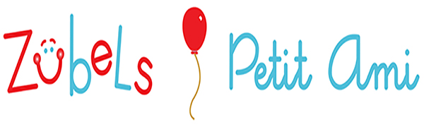 zubels and petit ami logo on a white background with a red balloon logo