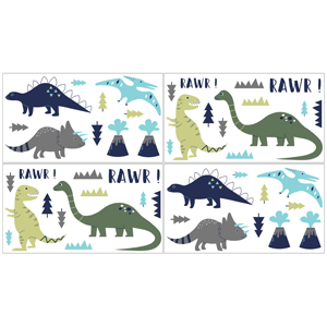 Blue and Green Modern Dinosaur Girl or Boy Baby and Kids Wall Decal Stickers - Set of 4 Sheets