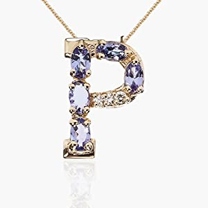 Letter Initial P Tanzanite Diamonds Yellow Gold Pendant Necklace Solid 18kt Jewelry womens