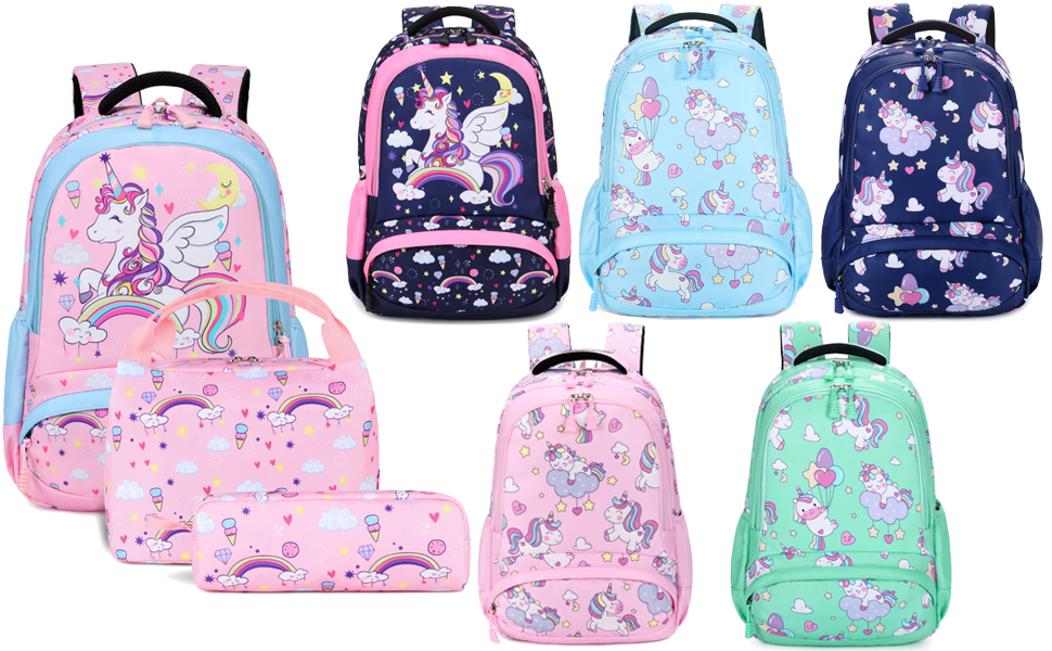 Colorful Unicorn Girls Backpack Schoolbag Insulated Thermal Cooler Lunch Box Lot