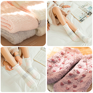 4 pairs plush slipper socks
