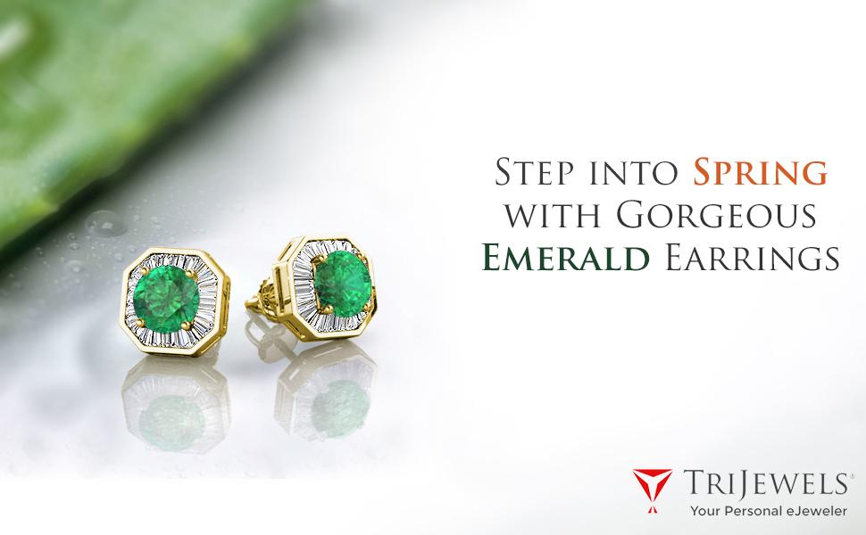 Gemstone Diamond Earring Studs