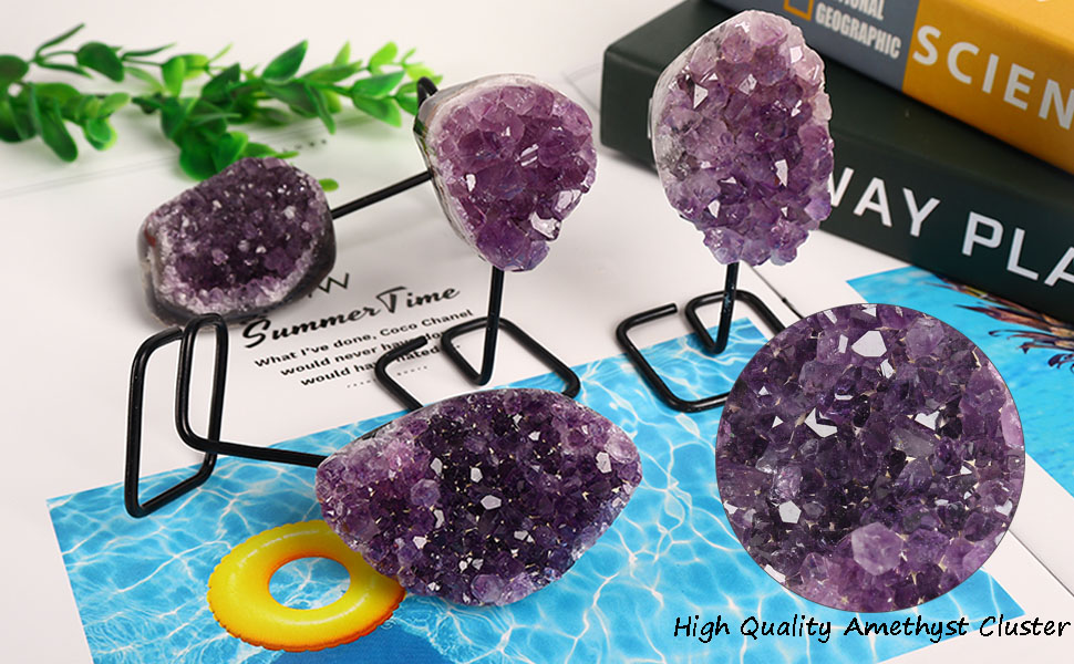 Jic Gem Natural Deep Purple Amethyst Crystal Cluster On Metal Stand Small Healing Crystals Stone Home Office Decor