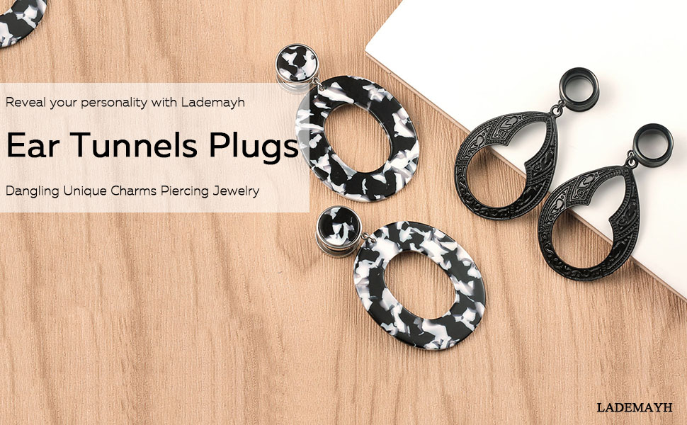 2 Pairs Lademayh Ear Tunnels Plug Dangle Charms Body Piercing Jewelry