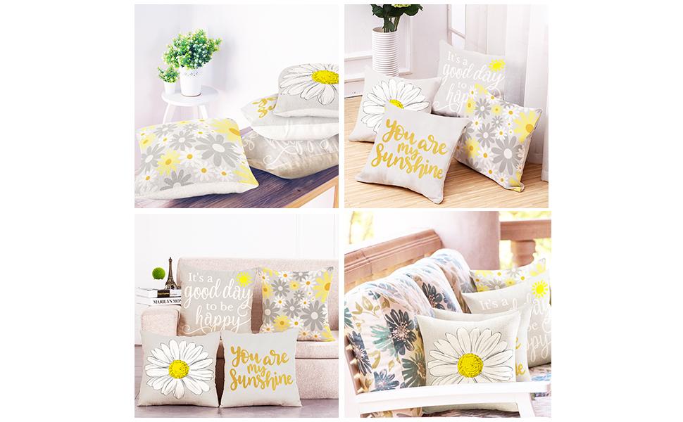 sunflower decor pillow covers for living room