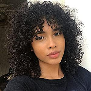 Wigs for black women Short Kinky curly wig  with bangs natural black wig afro wigs cosplay wig