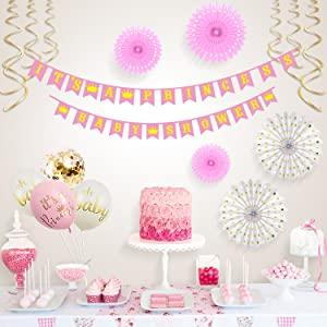 Xonara Its A Princess Baby Shower Decorations for Girl - 55 Piece Girls Baby Shower Decoration Pink
