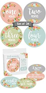 floral mile stone milestone marker sticker decal event picture photo prop baby infant 1-12 infant
