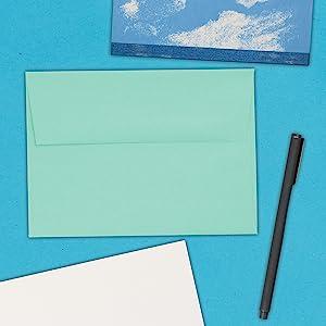 aqua A7 colored envelope