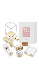 clear golden  colorful desk organizer office school home supplies set binder clips