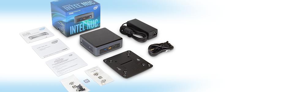 Intel NUC NUC8i7BEK Mini PC/HTPC i7 8th Gen contents image with VESA mount, power adapter, manual