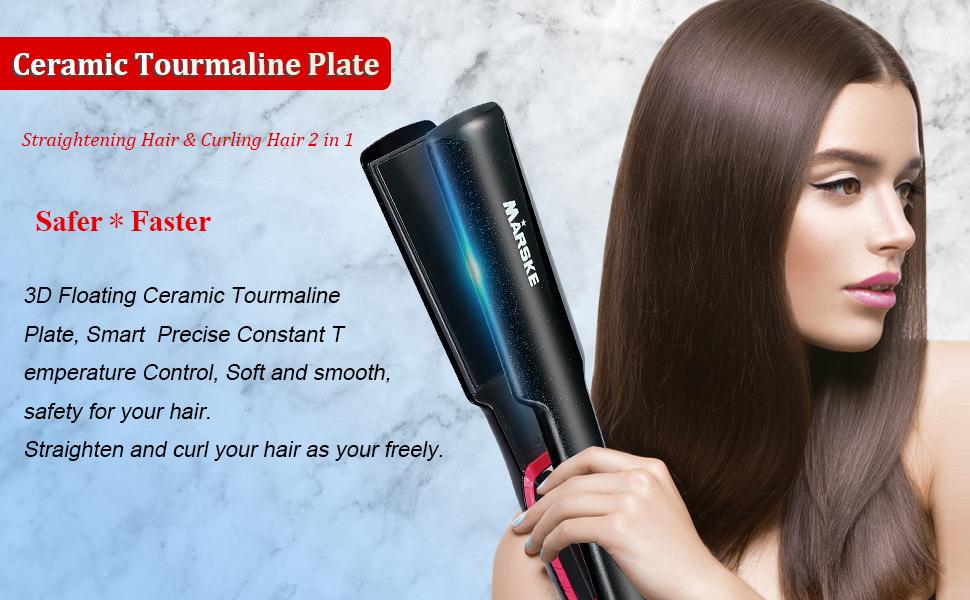 Ceramic Smart Blue Screen Display Hair Straightener
