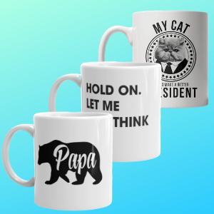 papa bear overthink this cat for president mugs
