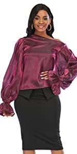 Women's Burgundy One Shoulder Top Long Lantern Sleeve See Through Blouse