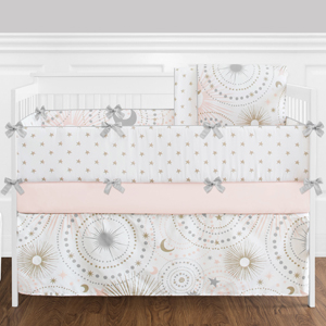 9 pc. Blush Pink, Gold, Grey and White Star and Moon Celestial Baby Girl Crib Bedding Set Bumper