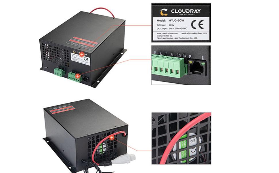 60W Co2 Laser Power Supply 110V /220Vfor CO2 Laser Tubes MYJG-60W