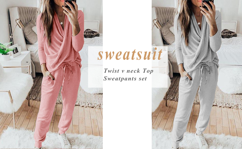 Sweatsuit for women causal 2 piece v neck shirts sweatpants