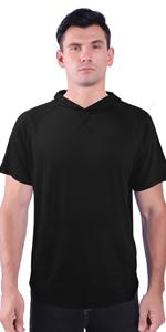 LeeHanTon Mens Hooded T-Shirt Short Sleeve Gym Lightweight Workout Polyester Solid Training Tees