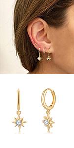 North Star Huggie Hoop Earrings