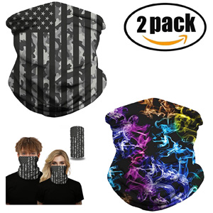 2 Pack Women Chiffon Neck Gaiter Sun Proof Face Mask Colorful Face Cover Outdoors Fishing UV Proof