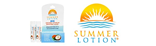 Summer Lotion - Organic Sun and Skincare Products with Natural Sunscreen, natural lip balm with zinc