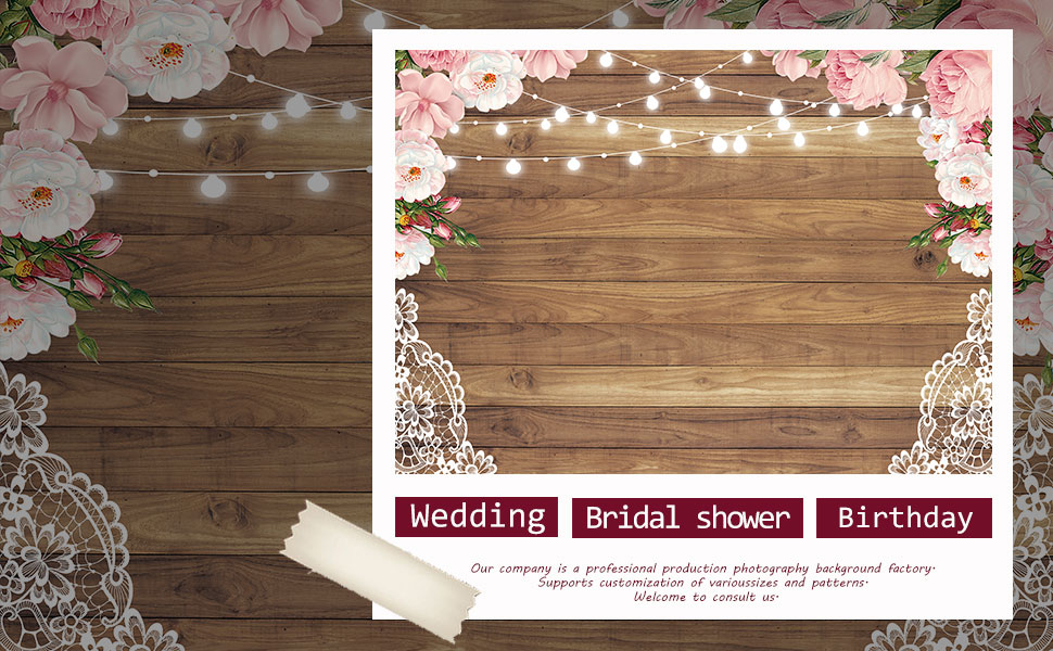 Funnytree Fabric Flowers Wood Lace Rustic No Wrinkle Wedding Floral  Backdrop