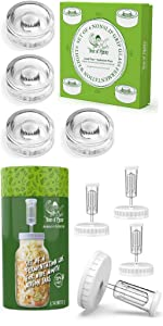 NonSlip Grip Fermentation Weights and White Lids for Wide Mouth Mason Jars Fermenting Kit