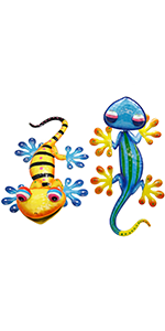 2 Pack 15 Inch Metal Gecko Wall Art