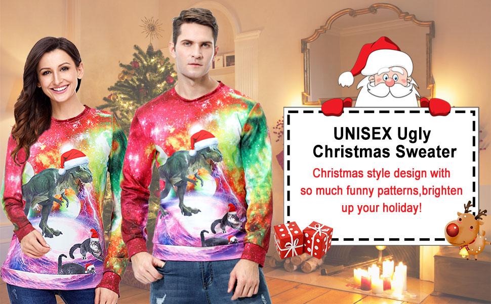 Xmas Print Pullover Sweater Shirt Long Sleeve Xmas Holiday Party Costume