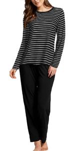striped pj top& lounge pants