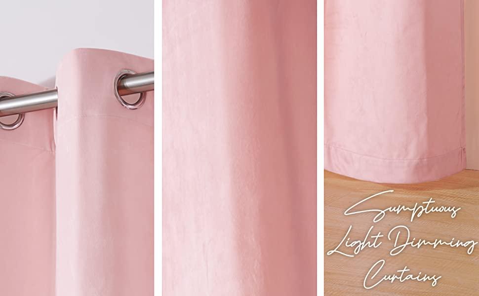 pink velvtet cozy curtains