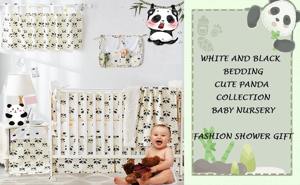 cute panda crib bedding set for boys and girls white black nursery bedding
